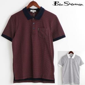 ベンシャーマン Ben Sherman ポロシャツ ポロ マイクロ レトロ ジオ ポルカ 2色 レッド ブライトホワイト メンズ|ukclozest