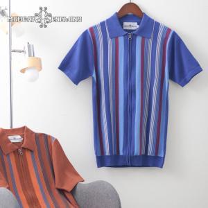 Madcap England メンズ ポロシャツ ポロ ジップスルー ストライプ マッドキャップ 3色 ブルー ゴールド イエロー ukclozest