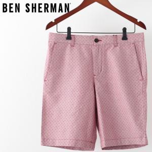 ベンシャーマン メンズ ハーフパンツ Ben Sherman ドーンレッド テーラード ショーツ 短パン スポット 水玉ドット|ukclozest