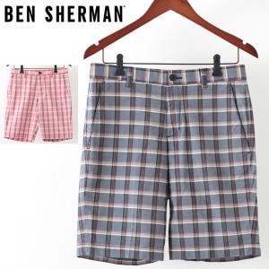 ベンシャーマン メンズ ハーフパンツ Ben Sherman 2色 クランベリー スタプレスネイビー テーラード ショーツ 短パン チェック|ukclozest