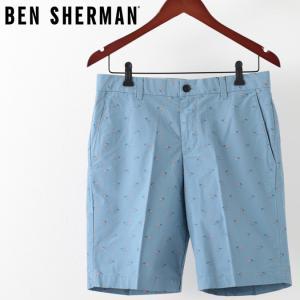ベンシャーマン メンズ ハーフパンツ Ben Sherman ウォッシュドブルー テーラード ショーツ 短パン カイト 洋凧|ukclozest