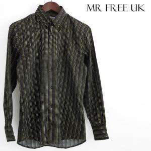 Mr Free UK 長袖シャツ ドッグトゥース 千鳥格子 ミスターフリー ブラックゴールド メンズ モッズファッション|ukclozest