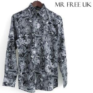 Mr Free UK 長袖シャツ ペイズリー ミスターフリー ブラック メンズ モッズファッション|ukclozest