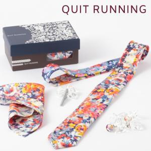 Quit Running クイトランニング 英国ブランド メンズギフト4点フルセット フローラル ネクタイ ポケットチーフ タイクリップ カフス  PEACH FLORAL|ukclozest
