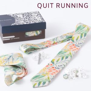 Quit Running クイトランニング 英国ブランド メンズギフト4点フルセット フローラル ネクタイ ポケットチーフ タイクリップ カフス  PASTEL FLORAL|ukclozest