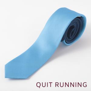 Quit Running クイトランニング シルクネクタイ ハンドメイド 英国ブランド ツートン ミッドナイトブルー×スカイブルー|ukclozest