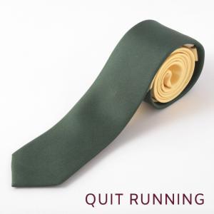 Quit Running クイトランニング シルクネクタイ ハンドメイド 英国ブランド ツートン バター × ディープ グリーン|ukclozest