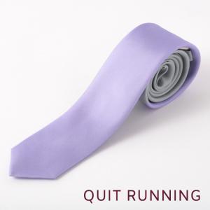 Quit Running クイトランニング シルクネクタイ ハンドメイド 英国ブランド ツートン シルバー × ラベンダー|ukclozest