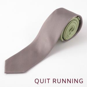 Quit Running クイトランニング シルクネクタイ ハンドメイド 英国ブランド ツートン ヨモギ × アズキ|ukclozest