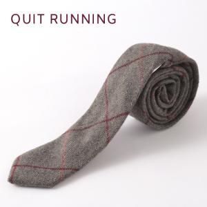 Quit Running クイトランニング ハンドメイド ツイード ウールタイ 英国ブランド グレーウィンドウペン チェック|ukclozest