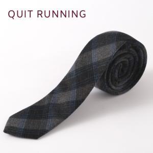 Quit Running クイトランニング ハンドメイド ツイード ウールタイ 英国ブランド ブラック ブルー チェック|ukclozest