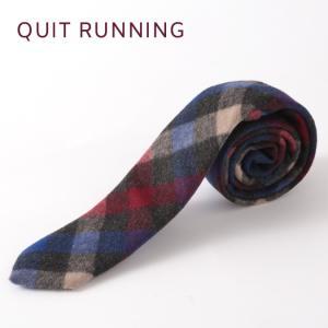 Quit Running クイトランニング ハンドメイド ツイード ウールタイ 英国ブランド ブルー ワイン チェック|ukclozest