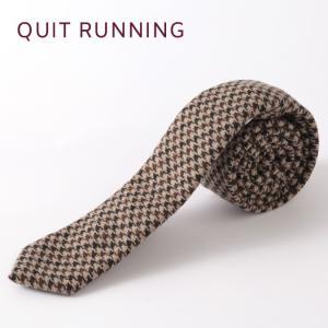 Quit Running クイトランニング ハンドメイド ツイード ウールタイ 英国ブランド ベージュ ハウンドトゥース|ukclozest