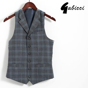 Gabicci ガビッチ ビンテージ チェック ラペル ベスト ウェストコート レトロ メンズ スーツ|ukclozest
