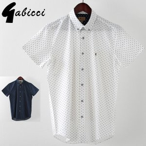 Gabicci メンズ 半袖シャツ ガビッチ  ポルカドット レトロ 2色 ネイビー ホワイト モッズファッション ukclozest