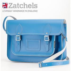 Zatchels サッチェルバッグ 13インチ 32.5x25x7cm マグネットストラップ コーンフラワーブルー ukclozest