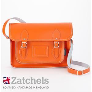 Zatchels サッチェルバッグ 13インチ 32.5x25x7cm マグネットストラップ オレンジ ukclozest