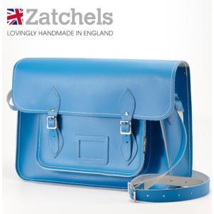 Zatchels サッチェルバッグ 16インチ 40x29x10cm 英国製 マグネットストラップ コーンフラワーブルー かばん バッグ メンズ レディース ukclozest