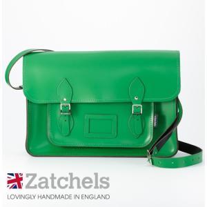 Zatchels サッチェルバッグ 16インチ 40x29x10cm 英国製 マグネットストラップ グリーン かばん バッグ メンズ レディース ukclozest