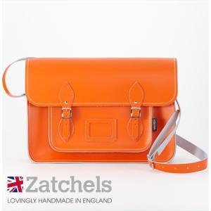 Zatchels サッチェルバッグ 16インチ 40x29x10cm 英国製 マグネットストラップ オレンジ かばん バッグ メンズ レディース ukclozest