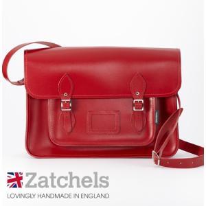 Zatchels サッチェルバッグ 16インチ 40x29x10cm 英国製 マグネットストラップ レッド かばん バッグ メンズ レディース ukclozest