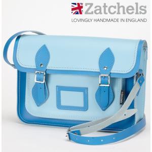Zatchels サッチェルバッグ 13インチ 32.5x25x7cm 英国製 ツートン コーンフラワーブルー かばん バッグ メンズ レディース ukclozest