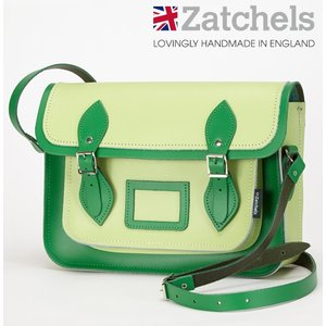 Zatchels サッチェルバッグ 13インチ 32.5x25x7cm 英国製 グラスグリーン かばん バッグ ukclozest