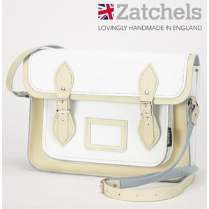 Zatchels サッチェルバッグ 13インチ 32.5x25x7cm 英国製 ツートン ホワイトクリーム ukclozest