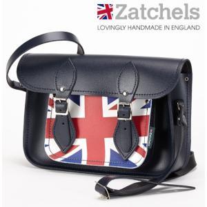 Zatchels サッチェルバッグ 11.5インチ 28x20x6cm 英国製 ユニオンジャック ネイビー かばん バッグ ukclozest
