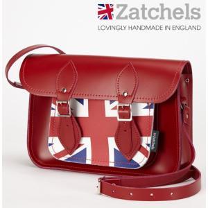 Zatchels サッチェルバッグ 11.5インチ 28x20x6cm 英国製 ユニオンジャック レッド かばん バッグ ukclozest