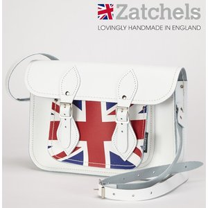 Zatchels サッチェルバッグ 11.5インチ 28x20x6cm 英国製 ユニオンジャック ホワイト かばん バッグ ukclozest