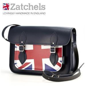 Zatchels サッチェルバッグ 13インチ 32.5x25x7cm 英国製 ネイビー ukclozest