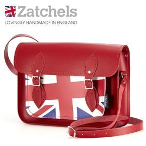 Zatchels サッチェルバッグ 13インチ 32.5x25x7cm 英国製 ユニオンジャック レッド ukclozest