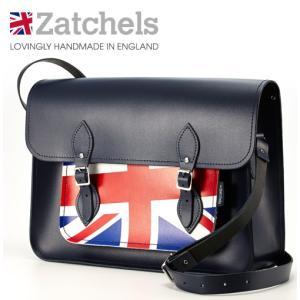 Zatchels サッチェルバッグ 16インチ 40x29x10cm  英国製 ユニオンジャック ネイビー ukclozest