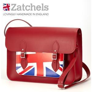 Zatchels サッチェルバッグ 16インチ 40x29x10cm  英国製 ユニオンジャック レッド ukclozest