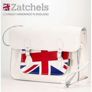 Zatchels サッチェルバッグ 16インチ 40x29x10cm  英国製 ユニオンジャック ホワイト ukclozest