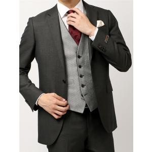 ビジネススーツ/メンズ/通年/FORMAL/CERIMONIA/リバーシブルジレ付き・スリーピーススーツ/ NR-04 チャコールグレー uktsc