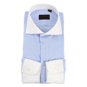 ドレスシャツ/長袖/メンズ/COOL MAX/クレリック&ホリゾンタルカラードレスシャツ 織柄 サックスブルー×ホワイト uktsc