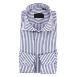 ドレスシャツ/長袖/メンズ/COOL MAX/ホリゾンタルカラードレスシャツ ストライプ ネイビー×ホワイト uktsc