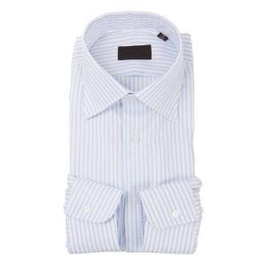 ドレスシャツ/長袖/メンズ/ワイドカラードレスシャツ ストライプ×織柄 ホワイト×サックスブルー uktsc