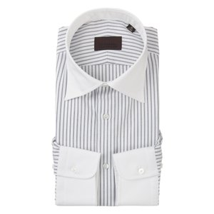 ドレスシャツ/長袖/メンズ/クレリック&ワイドカラードレスシャツ ストライプ×織柄 ホワイト×ネイビー uktsc