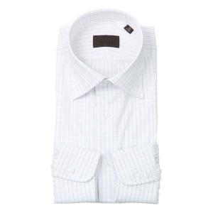 ドレスシャツ/長袖/メンズ/ワイドカラードレスシャツ グラフチェック ホワイト×サックスブルー×ネイビー uktsc