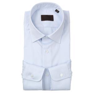 ドレスシャツ/長袖/メンズ/ワイドカラードレスシャツ 織柄 サックスブルー|uktsc