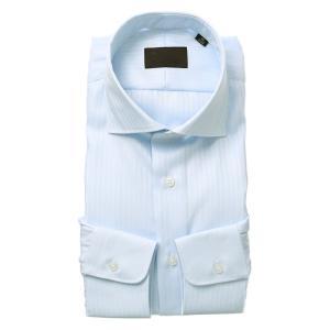 ドレスシャツ/長袖/メンズ/ホリゾンタルカラードレスシャツ ヘリンボーン サックスブルー|uktsc