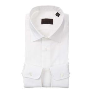 ドレスシャツ/長袖/メンズ/ワイドカラードレスシャツ 織柄 ホワイト|uktsc