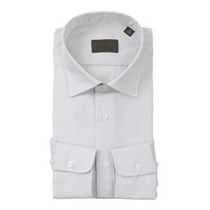 ドレスシャツ/長袖/メンズ/ワイドカラードレスシャツ 織柄 ライトグレー×ホワイト|uktsc