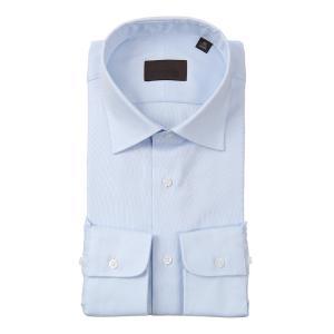 ドレスシャツ/長袖/メンズ/ワイドカラードレスシャツ 織柄 サックスブルー×ホワイト|uktsc