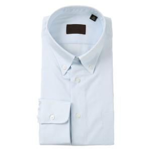 ドレスシャツ/長袖/メンズ/COOL MAX/ボタンダウンカラードレスシャツ 織柄 サックスブルー|uktsc