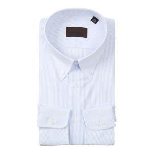 ドレスシャツ/長袖/メンズ/COOL MAX/ボタンダウンカラードレスシャツ ストライプ サックスブルー×ホワイト uktsc