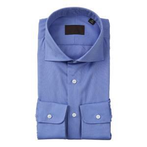 ドレスシャツ/長袖/メンズ/ホリゾンタルカラードレスシャツ 織柄 ブルー×サックスブルー|uktsc